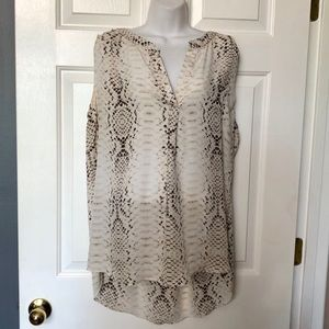 Rose & Olive Sheer Sleeveless Snakeskin Blouse